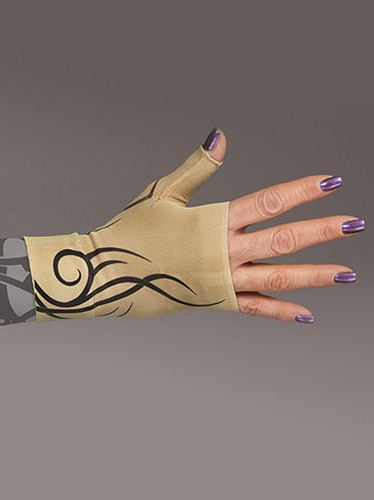 Lymphedivas Compression Gauntlet for lymphedema in Inked pattern