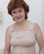 American Breast Care Post-Surgical Compression Mastectomy Bra in beige and white
