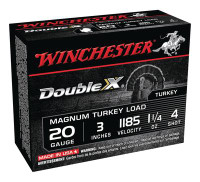 Double X Magnum Turkey Loads Copper Plated Buffered 20 Gauge 3 Inch 1185 FPS 1.25 Ounce 4 Shot - 020892016620