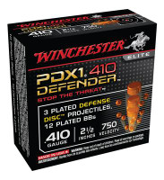 PDX1 Defender Ammunition For Personal Defense .410 Gauge 2.5 Inch 3 Discs Over 12 BB 10 Per Box - 020892020054