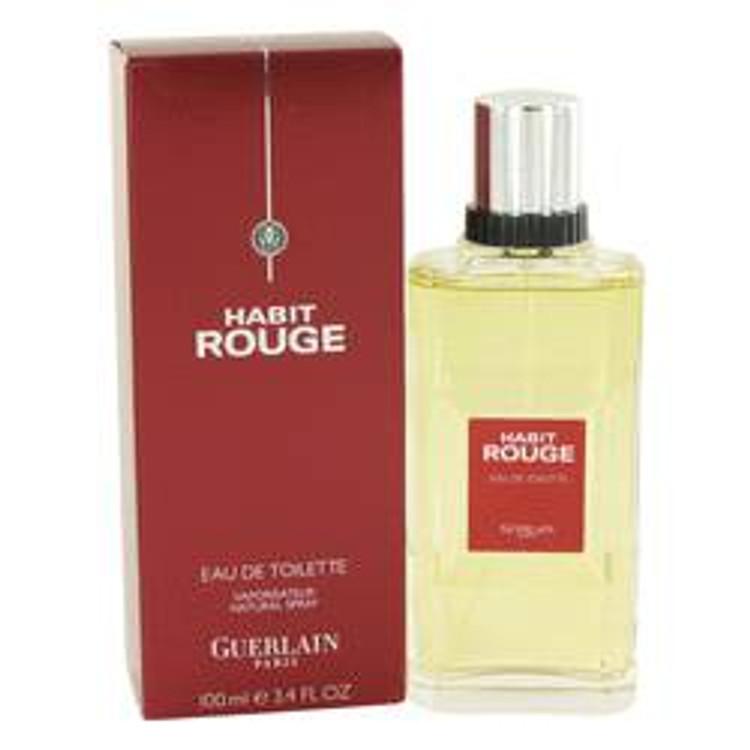 Habit Rouge  Cologne by Guerlain For Mens Edt spray 3.4oz