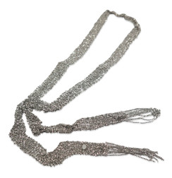 Oxidized Woven Mesh Necklace