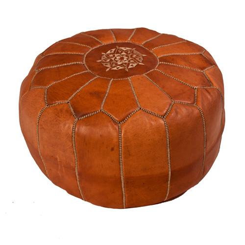Moroccan Pouf Tan Leather
