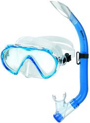 Mares Aquazone Mistral Junior Mask & Splash Guard Top Purge Snorkel Set in Blue + FREE Bag.