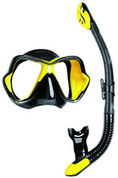 Mares X Vision Ultra Liquidskin Ergo Dry Mask & Snorkel Set. Black/Yellow