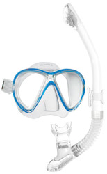 Mares X-VU Liquidskin Mask Ergo Dry Snorkel Set in Blue & White