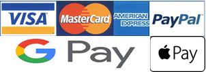 Apple Pay , Amazon Pay, Paypal , Visa, Mastercard , American Express