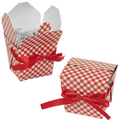 Gingham Take-out Box, Red