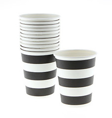 Candy Stripe Black on White Cups