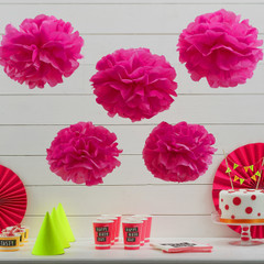 Pom Poms, Neon Pink
