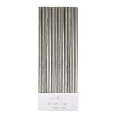 Paper Straws, Metallic Silver