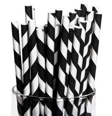 Paper Straws, Black Diagonal Stripes