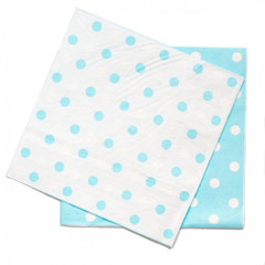 Polka Dot Napkins, Reversible Blue with White