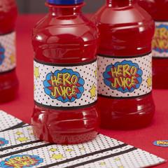Super Hero Water / Juice Bottle Labels