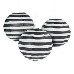 Pretty Paper Lanterns, Black and White Stripes