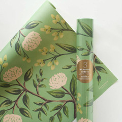 Rolled Wrapping Sheets, Emerald Peonies