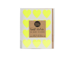 Heart Stickers: 36 Neon Yellow