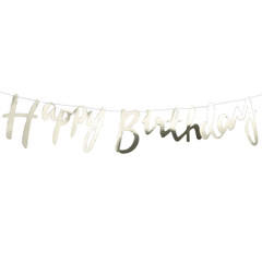 Happy Birthday, Gold Foil Bunting