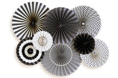 B&W Pinwheel Party Fans