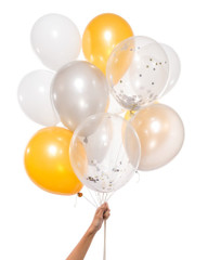 Balloons: 12 White Metallic Mix