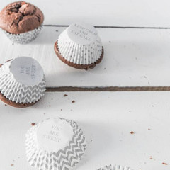 Cupcake Liners, White & Silver