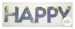 Happy Birthday Banner, Glittery Silver