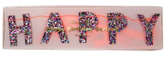 Happy Birthday Banner, Mini, Colored Glitter