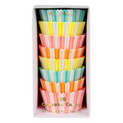 Neon Striped Cupcake Liners