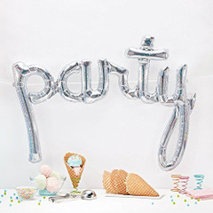 "Silver Holographic Script Balloon ""Party"""