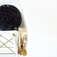 Honeycomb Ball, Black w/ Gold Tassel