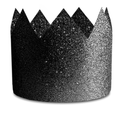 Crown Party Hats, Black Glitter