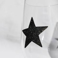 Stickers, Black Glitter Stars