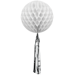 Honeycomb Ball, White w/ Silver Tassel