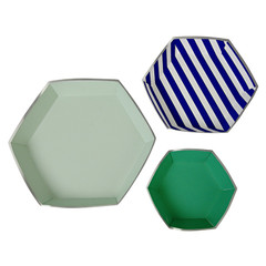 Toot Sweet Blue Stripe Platter Set