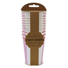 Toot Sweet Pink Stripe Cups