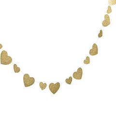 Glittery Gold Heart Garland