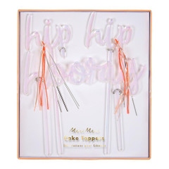 Hip, hip, hooray cake topper