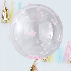 Clear Orb Balloons, Pink Confetti, Large