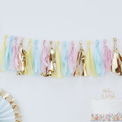 Hip, Hip, Hooray Tassel Garland, Pastel & Gold