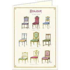 Bonjour Antique Chairs Card