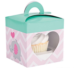 Pink Elephant Cupcake Box