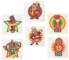Circus Under the Big Top Temporary Tattoos