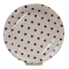 Polka Dot  Plates, White with Red