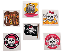 Pink Pirate Temporary Tattoos