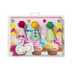 Cupcake Hat Shaped Toppers & Pompoms