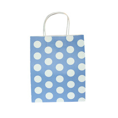 Party Bag, Aqua Blue Polka Dots, Large