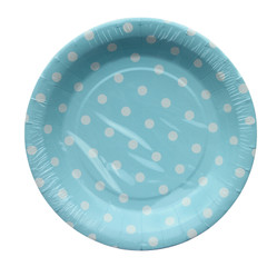 Polka Dot Plates, Light Blue with White