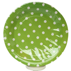 Polka Dot Plates, Green with White