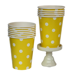Polka Dot Party Cups, Yellow with White