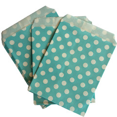 Treat Bag, Aqua Polka Dots